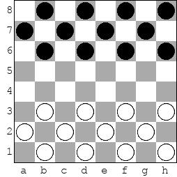 начальная расстановка дуальных шашек